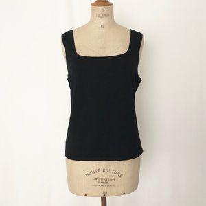 Ralph Lauren black square neck short sleeve top XL